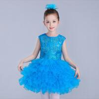 女童公主裙蓬蓬纱裙幼儿园跳舞大合唱表演服 六一儿童舞蹈演出服装 天蓝 色