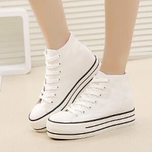 环球 韩版高帮帆布女鞋松糕厚底帆布鞋系带鞋