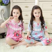 夏季薄款绵绸儿童女童睡衣短袖小孩亲子装母女棉绸宝宝家居服套装