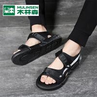 木林森2021新款个性凉鞋男夏季外穿一字鞋男潮流休闲男士沙滩鞋