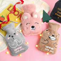 日系可爱卡通动物热水袋冬季刺绣毛绒冲水注水袋保暖便携暖手宝