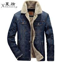 夏妆冬季新款牛仔外套男韩版潮流外穿修身加绒加厚夹克青年帅气棉衣