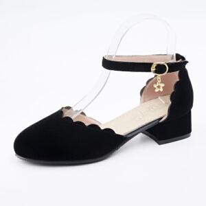 ELEISE美国艾蕾莎新品098-3598学院磨绒中跟女士凉鞋
