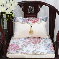中式古典沙发坐垫抱枕腰枕红木椅垫加厚海绵座垫椅垫定做靠垫套装 米白色 米色牡丹