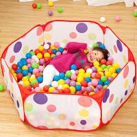 儿童海洋球可折叠围栏球池婴童玩具帐篷宝宝游戏屋彩色波波球沙池SN9392 1米圆点池+送10个球 5.5cm球