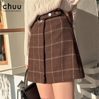 chuu毛呢红格子短裙秋冬季女2019新款韩版高腰复古包臀a字半身裙