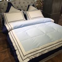家纺简约纯棉四件套酒店床上用品60支埃及长绒棉纯色刺绣被套大气床品