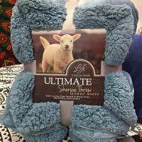 家纺加厚保暖秋冬季法莱绒毛毯纯色单双人盖毯双层羊羔绒珊瑚绒毛毯子 200*230cm 约5斤
