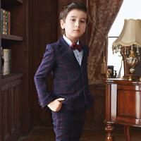 韩版潮冬厚款 新款男童西服儿童小西装套装花童礼服男孩大宝宝外套