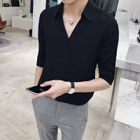 新款潮流衬衫绅士潮流男士五分袖衬衫理发师V领衬衫潮