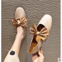 平底单鞋女蝴蝶结圆头奶奶鞋复古百搭韩版软底豆豆鞋