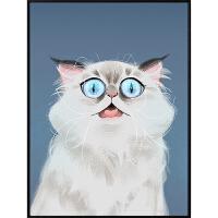 宠物相框 萌猫咪装饰画北欧ins风格客厅卧室咖啡厅马卡龙可爱床头挂画 30x40 简框-白色 单幅
