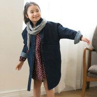 2018春季新款韩版女童外套中大童风衣长袖牛仔格子中长款宽松外套