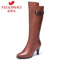 富贵鸟 新款女靴长靴女秋冬长筒靴高筒靴子女士皮靴骑士靴
