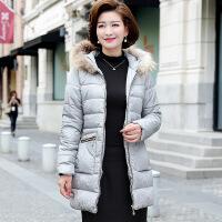 中老年女装冬装连帽新款中年妈妈装纯色中长款加厚棉衣外套