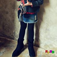 2018韩版童装春秋季冬款女童全棉打底裤假牛仔拼接裙加绒裤子
