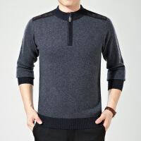 冬新款男士针织t恤衫 拉链领纯色羊绒男装毛衣 男式长袖羊毛衫