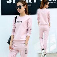 韩版女士粉色套头长袖卫衣两件套 新款时尚女装休闲服潮大码运动服套装女