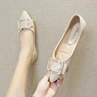 复古单鞋户外时尚女士韩版休闲百搭浅口尖头平底女鞋