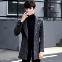 冬季韩版修身男士毛呢大衣中长款加绒厚妮子外套帅气呢子西装风衣 灰色 M