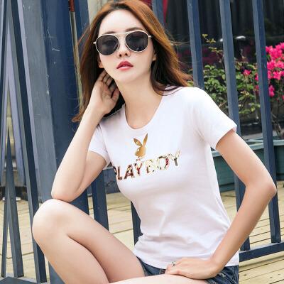 短袖女t恤衫新款韩版修身显瘦打底大码印花亮片半袖体恤衫