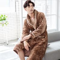 男士睡袍冬季加厚长款睡衣男长袍男款冬天保暖珊瑚绒夹棉浴袍
