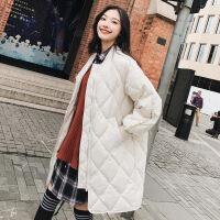 2018秋季新款冬季韩版宽松中长款棉衣女ulzzang菱格棒球服外套学生面包服
