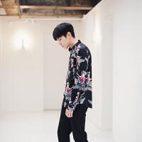 日系男士衬衫个性宽松潮流男装休闲衬衣民族花纹男长袖衬衫潮