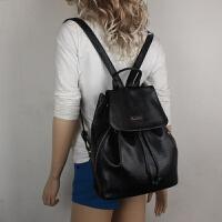 七夕礼物女包双肩包女 韩版休闲旅行包 pu皮女学生书包 女士小背包 黑色