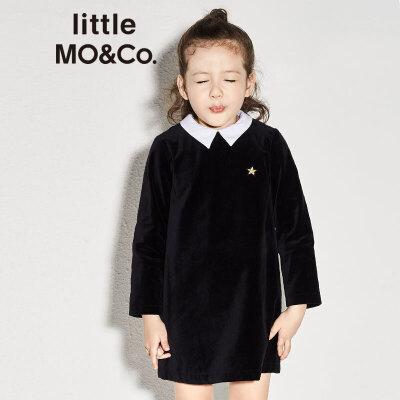 【折后价:279.6】littlemoco女童撞色小翻领星星图案丝绒连衣裙KA173DRS115 撞色翻领 星星图案