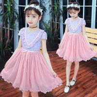 女童公主裙夏款韩版童装中大儿童蕾丝透气连衣裙女孩甜美裙