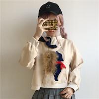 秋冬女装2018新款韩版拼色宽松加厚学生套头卫衣ulzzang上衣可爱