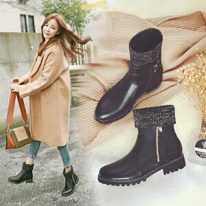 【满200减100】【毅雅】新款针织时尚休闲低跟侧拉链韩版靴子女鞋子 YM7WJ7947