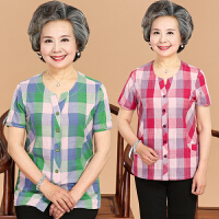 中老年人女装短袖上衣夏季新款奶奶装格子衬衫大码宽松休闲妈妈装