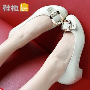 达芙妮旗下鞋柜时尚搭扣圆头中跟浅口单鞋