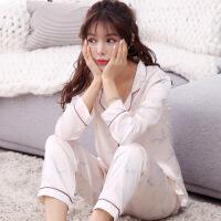 冰丝睡衣女夏韩版清新学生秋季两件套装长袖纯棉绸可外穿性感宽松 Y524