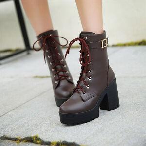 O'SHELL欧希尔新品136-08欧美粗跟高跟女士短靴