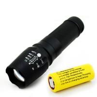 军强光手电筒L2变焦探照灯LED充电超亮迷你户外防水远射5000 T6芯片26650 一电+USB座充