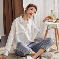 【领券500-130,仅限19-21日】唐狮春秋白色长袖衬衫女韩版新款宽松衬衣学生设计感小众上衣洋气