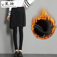 夏妆加绒加厚假两件打底裤外穿女长裤秋冬季黑色裙裤百褶裙小脚铅笔裤