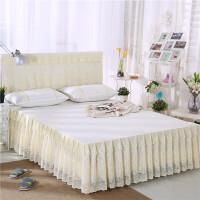 单件 夏季公主床裙床罩床套床笠防滑席梦思保护套1.8x2.0 米白色 月满花香米色