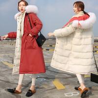 羽绒服 新品女双面穿棉衣女长款过膝ins2018冬装新款韩版加厚工装羽绒外套 米色