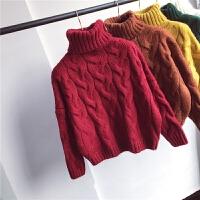 高领毛衣女套头加厚2018冬季新款女装韩版纯色宽松短款粗线针织衫
