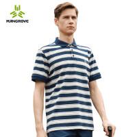 户外男士运动条纹短袖功能POLO衫休闲翻领T恤吸湿透气