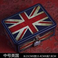 创意带锁收纳铁盒小钱箱大号收纳整理储物盒金属半岛铁盒密码盒 玫红色 米字旗款-中号
