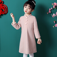 女童旗袍连衣裙秋冬儿童唐装羊毛呢中国风宝宝长袖拜年服