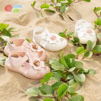 贝贝怡女童凉鞋2021夏季宝宝可爱软底防滑镂空学步鞋童鞋鞋子