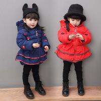2女童袄子冬装棉袄1-3岁女宝宝加厚棉衣红色4女宝外套2017潮