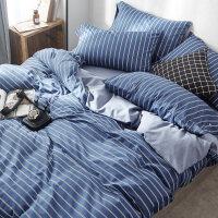 家纺全棉纯棉北欧床品四件套1.8m床双人简约床单被罩三件套被套床笠款