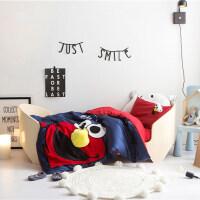 高端婴儿儿童棉床品四件套单人宿舍床长绒棉刺绣芝麻街艾摩